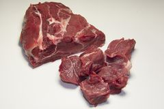 Raw pieces of beef meat for stew , goulash or ragout. Raw pieces of beef meat ingredient for stew , goulash or ragout Royalty Free Stock Photography