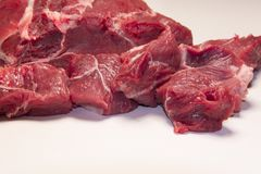 Raw pieces of beef meat for stew , goulash or ragout. Raw pieces of beef meat ingredient for stew , goulash or ragout Royalty Free Stock Photos