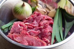 Raw pieces of crude meat with garlic and onion Royalty Free Stock Photos