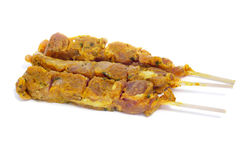 Raw pinchos de pollo, spanish chicken skewers Royalty Free Stock Image