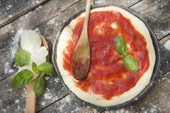 Raw pizza base Stock Image