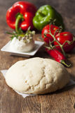 Raw pizza dough. On wood Stock Image