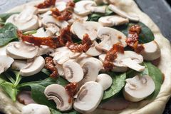 Raw pizza and igredients royalty free stock photography