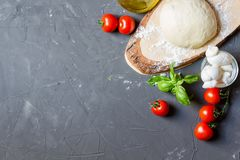 Raw pizza ingredients on the grey background with copy space, you can put your image or inscription on the left royalty free stock images