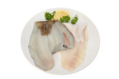 Raw plaice fillets. Raw plaice fish fillets on a plate with a garnish of lemon and parsley isolated against white Royalty Free Stock Photo