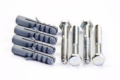 Raw plugs and screw bolts Stock Images