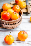 Raw plums in pottery on wooden table, rustic, healthy food,. Raw plums in pottery on gray wooden table, rustic, healthy food,selective focus Royalty Free Stock Images
