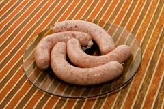 Raw polish white sausage Royalty Free Stock Images