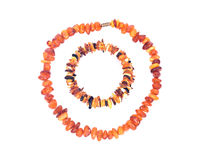 Raw Polished Adult Baltic Amber Necklace and Bracelet Royalty Free Stock Photo