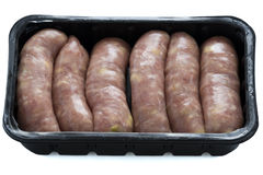 Raw pork and apple sausages Royalty Free Stock Image
