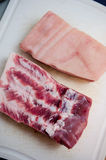 Raw pork belly closeup. Raw pork belly pieces with meat, fat and skin layers Stock Photos