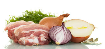Raw pork belly with fennel, onions isolated on white. Raw pork belly with fennel, onions isolated on white background Stock Photography