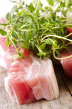 Raw pork belly. With fresh thyme Stock Photo