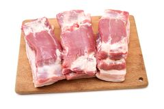 Raw pork belly, a popular cut of meat, used for bacon, as well as many other dishes , as well as many other dishes. Raw pork belly, a popular cut of meat, used stock image