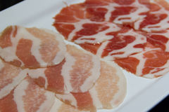 Raw pork belly slices. For Grilled Royalty Free Stock Photos