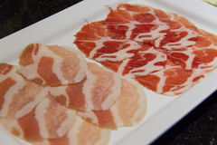 Raw pork belly slices. For Grilled Stock Photos