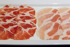 Raw pork belly slices. For Grilled Royalty Free Stock Image
