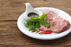 Raw Pork   and black pepper sauce Royalty Free Stock Images