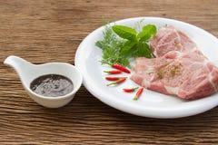 Raw pork  and black pepper sauce Stock Photos