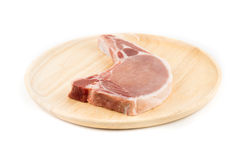 Raw pork chop for cooking isolated white background. Raw pork chop for cooking isolated background Royalty Free Stock Image