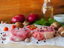Raw pork chop steak Royalty Free Stock Images