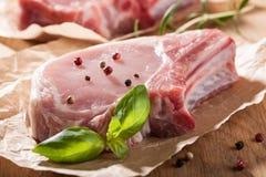 Raw pork chop Stock Photo