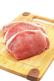 Raw pork chops. On a cutting board Royalty Free Stock Photography
