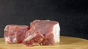 Raw pork chops ready to cook stock video