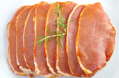Raw pork chops. On white plate Royalty Free Stock Photos