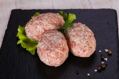 Raw pork cutlet. Minced meat Stock Image