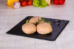 Raw pork cutlet. Minced meat Stock Images
