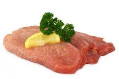 Raw pork cutlet schnitzel Stock Photo