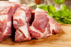 Raw pork on cutting board Stock Photography