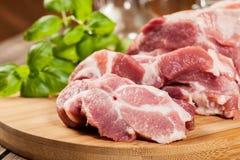 Raw pork on cutting board Royalty Free Stock Photo