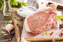 Raw pork on a cutting board Royalty Free Stock Photography