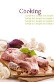 Raw pork on a cutting board Stock Photos