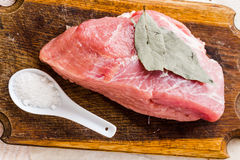 Raw pork on a cutting board, salt Royalty Free Stock Photo