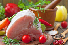 Raw pork on cutting board Royalty Free Stock Image
