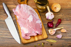 Raw Pork on a Cutting Board Stock Photography