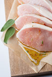 Raw pork escalope with sause made of honey and herbs Royalty Free Stock Image