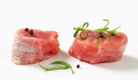 Raw Pork Fillet Medallions Stock Images