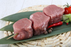 Raw pork fillet mignon. Ready for cooking stock image