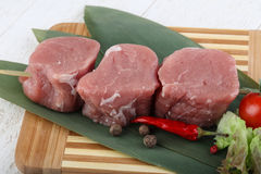 Raw pork fillet mignon. Ready for cooking royalty free stock photo