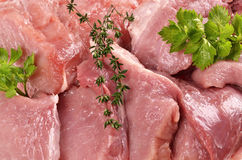Raw pork with  fresh spices Royalty Free Stock Photo