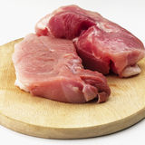 Raw pork ham on wooden cutting board on white background Stock Image