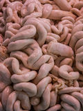 Raw pork intestines in market. Royalty Free Stock Photo
