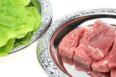Raw pork with korean lettuce Stock Photo