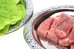 Raw pork with korean lettuce Stock Photo