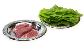 Raw pork with korean lettuce Stock Photography