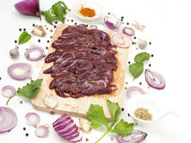 Raw pork liver slice with flavoring spices japanese and asian food Royalty Free Stock Images